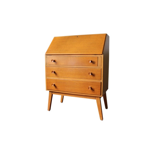 mid century modern secretary writing desk chairish. Black Bedroom Furniture Sets. Home Design Ideas