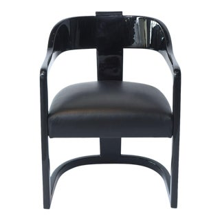 """Set of Six American Modern Black Lacquer """"Ari"""" Chairs, style of Karl Springer"""