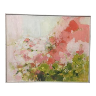 1970s Vintage Expressionist Floral Painting in Pinks by Anita Simpson