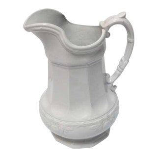 19th Century Ironstone Pitcher with Fig Leaf Pattern