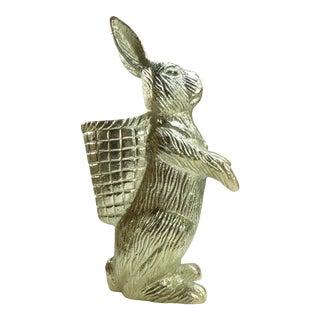 Brass Bunny Rabbit With Basket