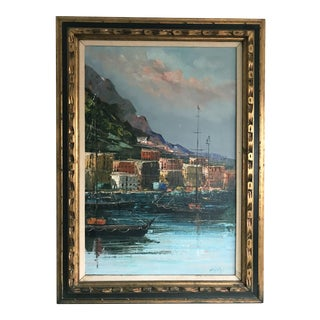 Italian Harbor Oil Painting