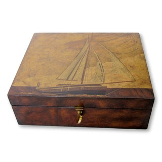 Maitland Smith Marquetry Sailboat Box