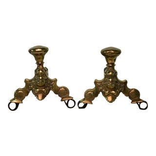 A Pair Of Small Dutch Brass Andirons 17th Century