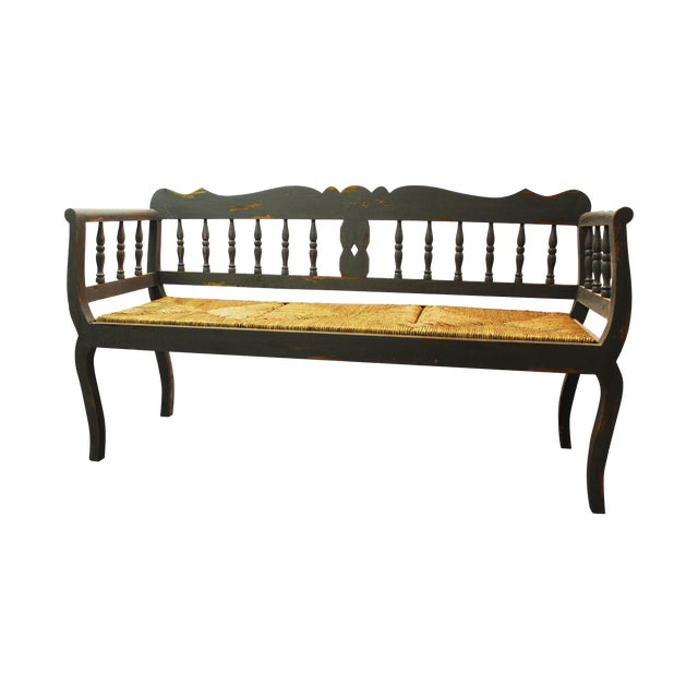 Painted Country French Triple Rush Seat Bench - Image 1 of 11
