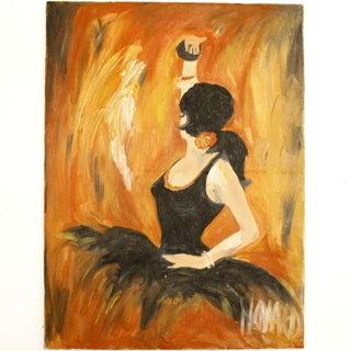 Vintage Original Oil Painting of Spanish Ballerina