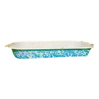 Vintage Blue & White Swirl Granite Ware Bowl