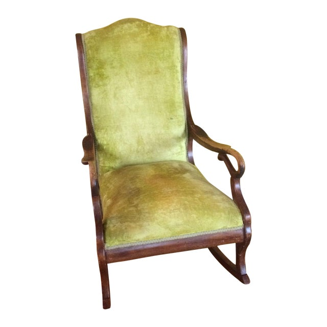 Antique Solid Wood Rocking Chair  Chairish