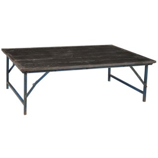 Antique Industrial Folding Coffee Table