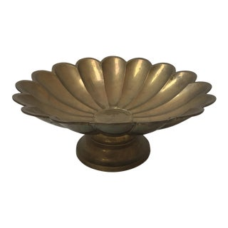 Brass Scalloped Pedestal Bowl