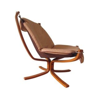 Sigurd Ressell Norwegian Mid-Century Leather Falcon Chair