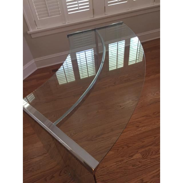 DIA Curved Glass & Chromed Steel Writing Desk - Image 7 of 10