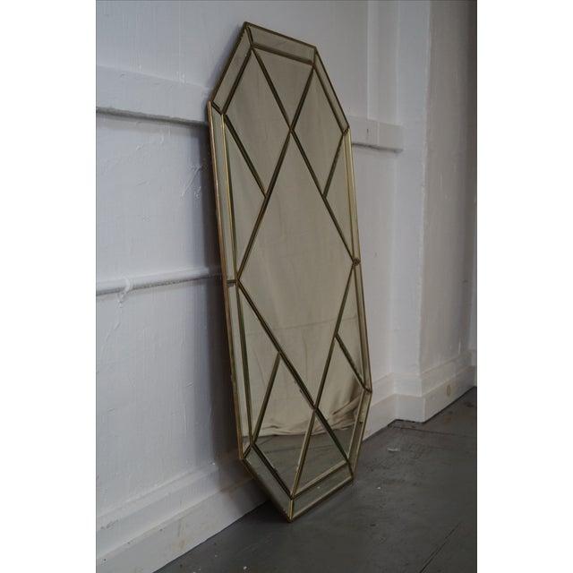 Brass Frame Harlequin Pattern Beveled Glass Mirror - Image 3 of 10