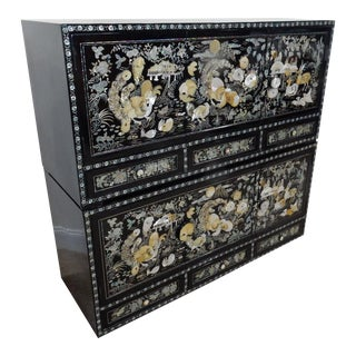 Chinese Mother of Pearl Inlaid Lacquered Cabinet