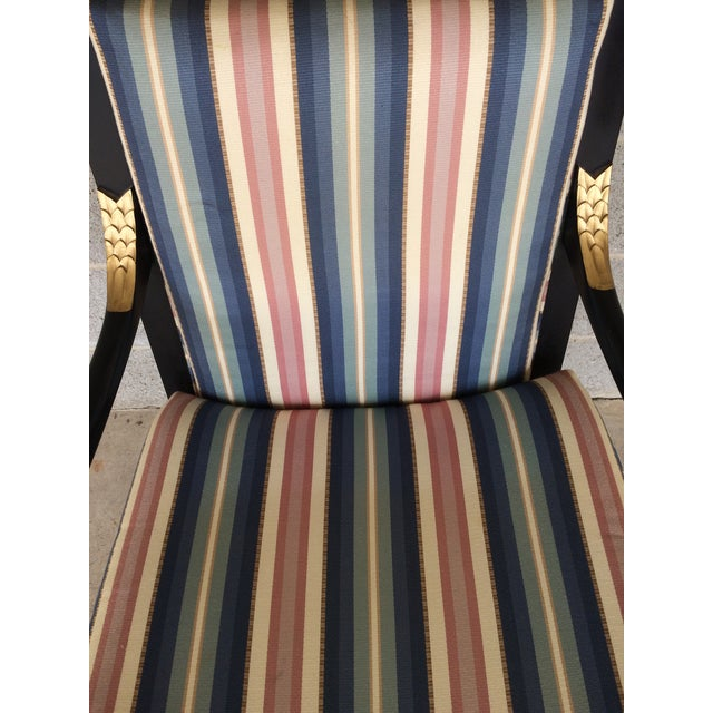 Ethan Allen Dolphin Federal Black/Gold Trim Upholstered Arm Chair - Image 8 of 10