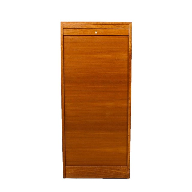 Image of Danish Modern Tambour Door File Cabinet