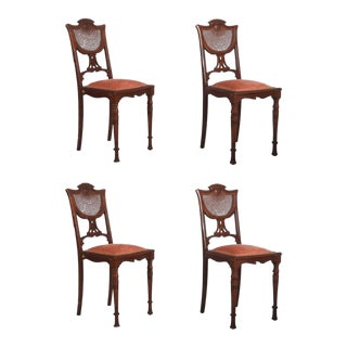 French Art Nouveau Walnut Chairs, 1900s - Set of 4