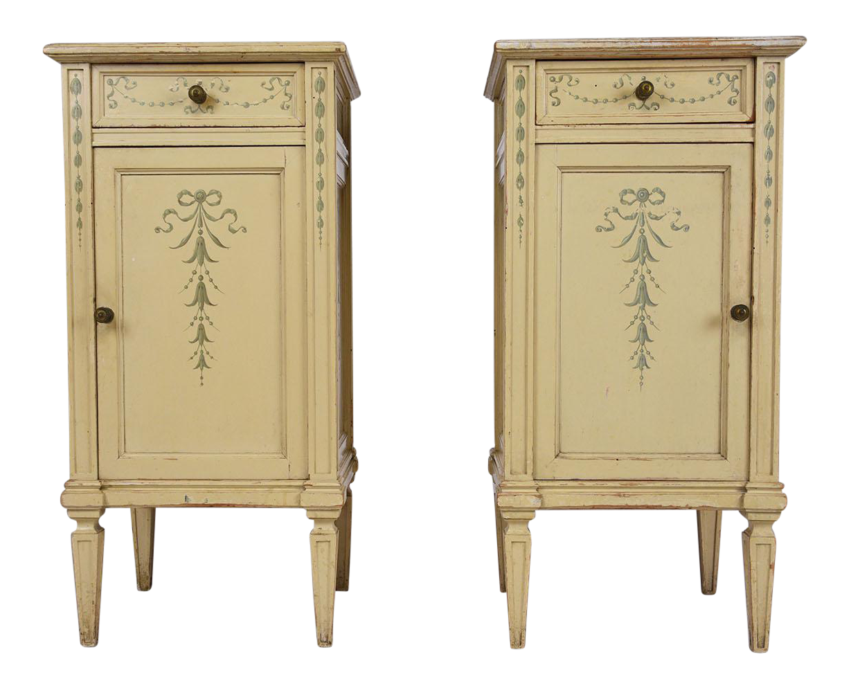 antique continental style nightstands a pair