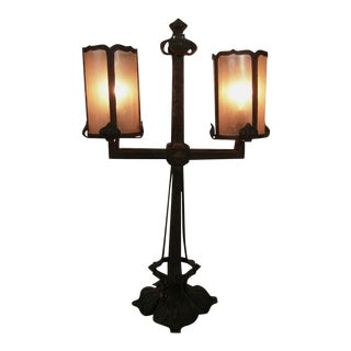 Fine Quality Arts and Crafts Period Wrought Iron and Mica Lamp