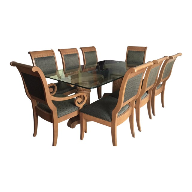 Thomasville Formal Dining Room Table And Chairs Set Of 9 Chairish