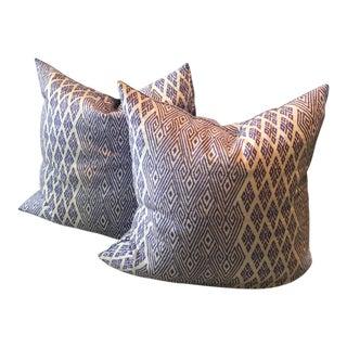 John Robshaw Blue Pillows - A Pair