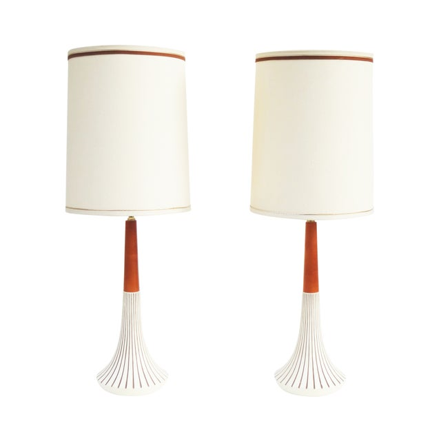 Image of Cream Incised Ceramic Lamps by F.A.I.P. - A Pair