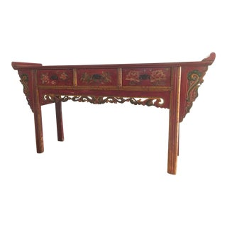 Antique Chinese Red Lotus Sideboard