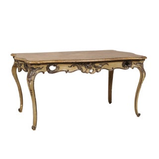 Italian Rococo Style Table, Desk With Faux-Marble Top, 19th Century