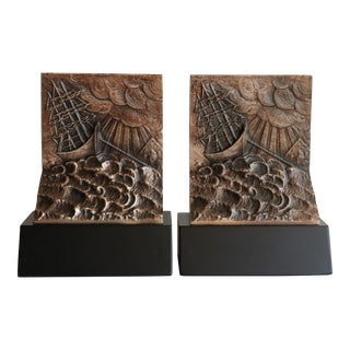 Ship in a Storm Brutalist Style Bookends