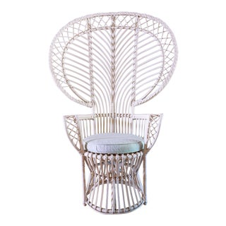 Vintage White Rattan Peacock Chair & Cushion