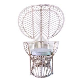 Vintage White Rattan Peacock Chair & Cushion