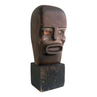 Hand Carved Wooden Bust Sculpture