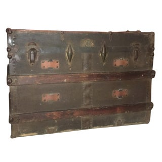Antique Flat Top Steamer Trunk Coffee Table