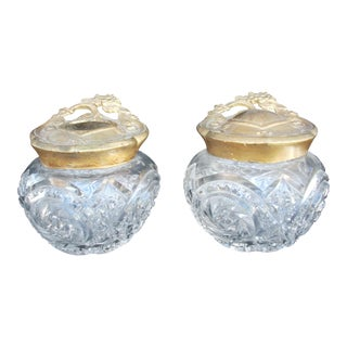 Art Nouveau Vanity Jar Set - A Pair