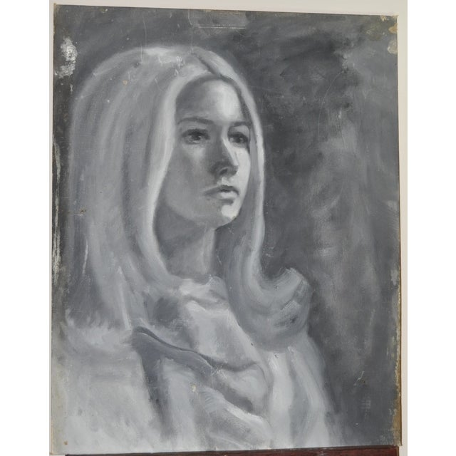 Image of Vintage Shabby Chic Portrait of Young Lady, 1960