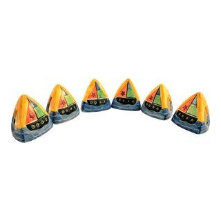 Hand-Painted Triangular Sailboat Napkin Rings- Set of 6