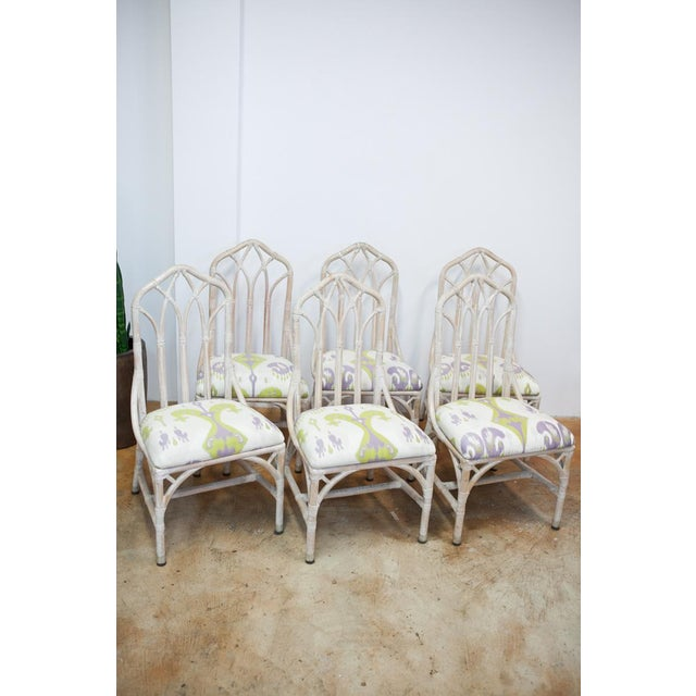 Rattan Upholstered Dining Chairs - Set of 6 - Image 2 of 8