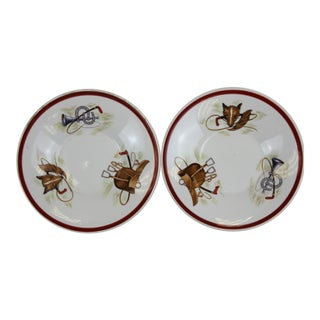 Pair of English Foxhead Hunting Scenes Saucers