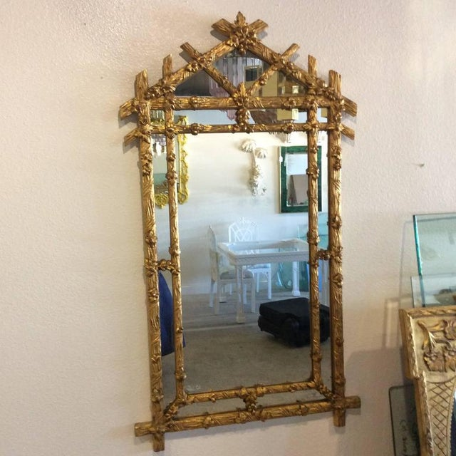 Vintage Hollywood Regency Floral Faux Bois Giltwood Wall Mirror - Image 5 of 8