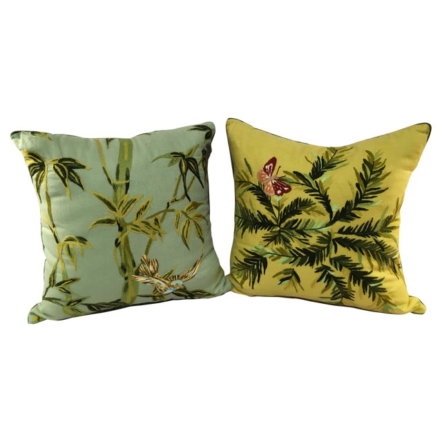 Linen Embroidered Pillows - A Pair - Image 1 of 5