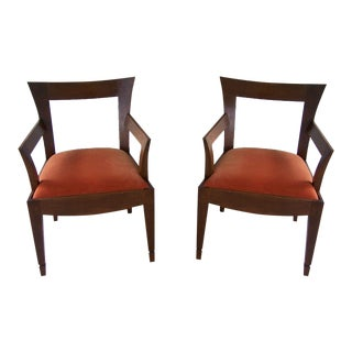 A Pair of Tiger Wood Armchairs