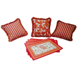 Moroccan Bohemian Orange Pillows & Placemats - Set of 9