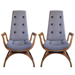 Stylish Pair of American High-Back Lounge Chairs; Manner of Adrian Pearsall