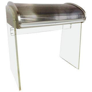 1960's Vladimir Kagan Style Lucite and Aluminum Roll Top Desk