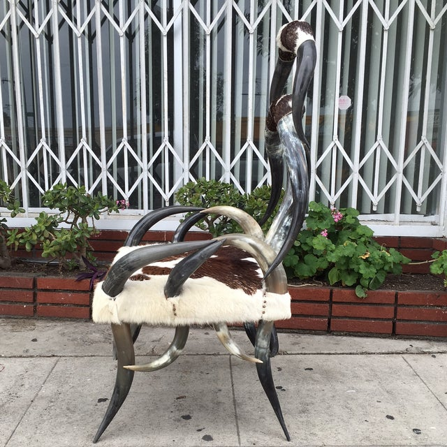 Rare Vintage Cowhide Horn Chair - Image 3 of 4