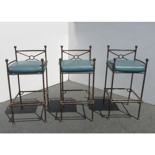 Metal & Turquoise Blue Leather Tall Barstools - 3 - Image 3 of 11