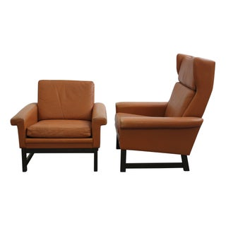 Vintage Danish Leather Lounge Chairs - A Pair