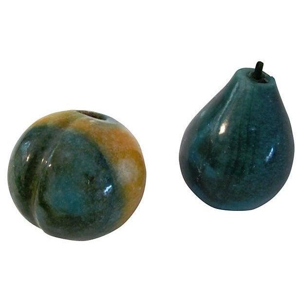 Image of Mid-Century Italian Alabaster Summer Fruit - S/6