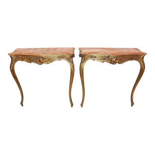 19th Century Antique Fench Gilt Consoles - a Pair