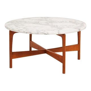 Danish Modern Teak Marble Top Coffee Table